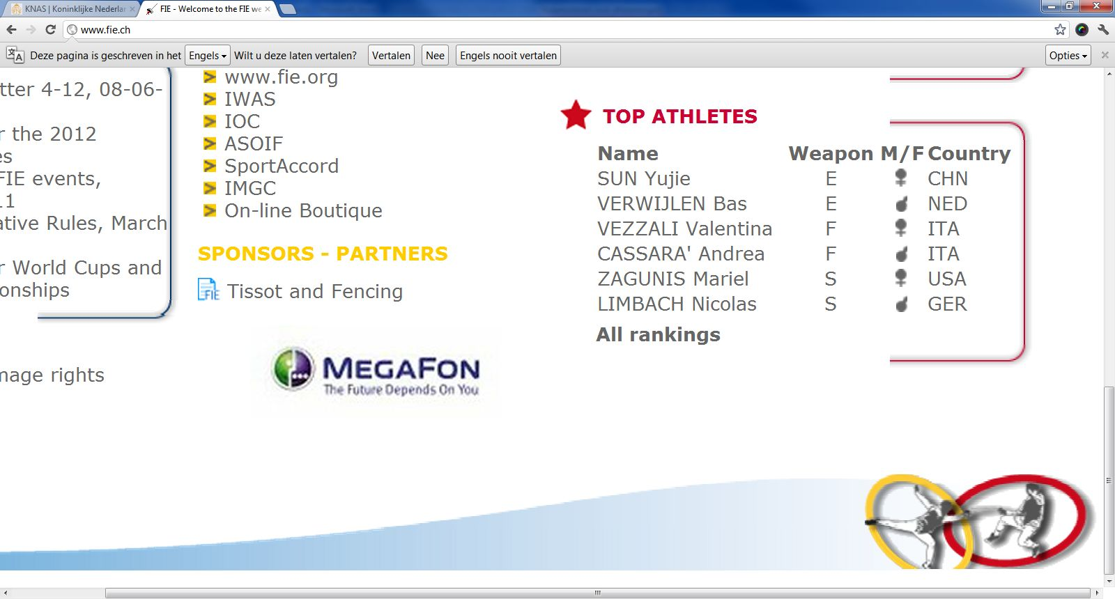 Aanvoerders wereldranglijst juni 2012